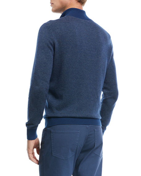 Birdseye-Knit Half-Zip Sweater