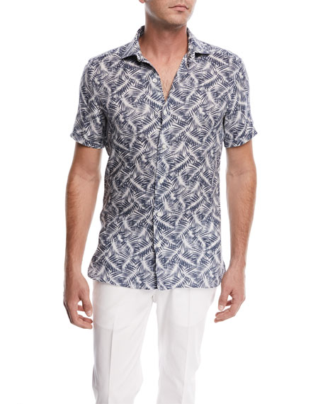 Palm Leaf Linen Short-Sleeve Sport Shirt