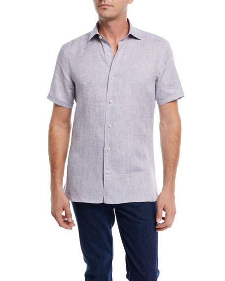 Ermenegildo Zegna Heathered Linen Short-Sleeve Sport Shirt