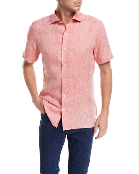 Ermenegildo Zegna Heathered Linen Short-Sleeve Sport Shirt,