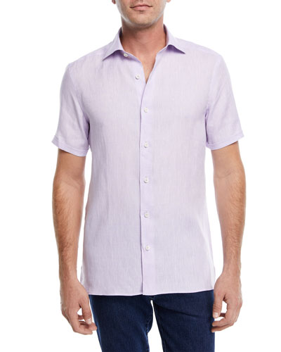 Linen Short-Sleeve Sport Shirt, Purple