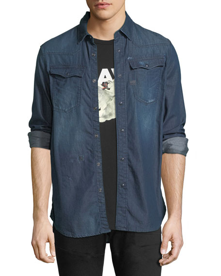 Kinney Lightweight Distressed Denim Shirt