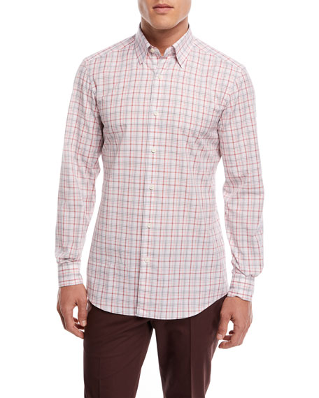Ermenegildo Zegna Large Plaid Sport Shirt