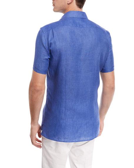Linen Short-Sleeve Sport Shirt, Blue