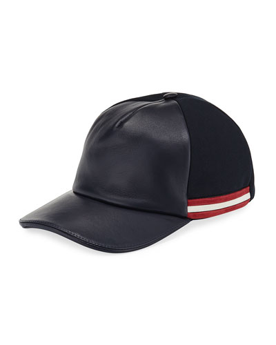 Leather-Front Baseball Hat
