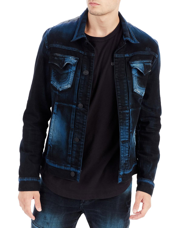 True Religion Dylan Distressed Denim Jacket | Neiman Marcus