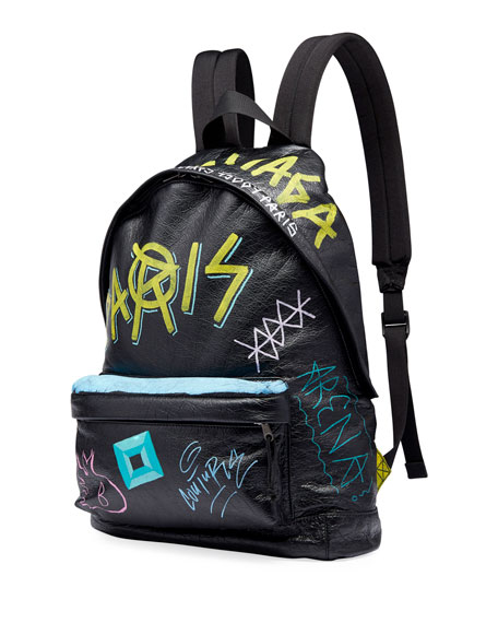 Men's Graffiti Leather Backpack
