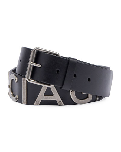 Logo-Lettering Leather Belt