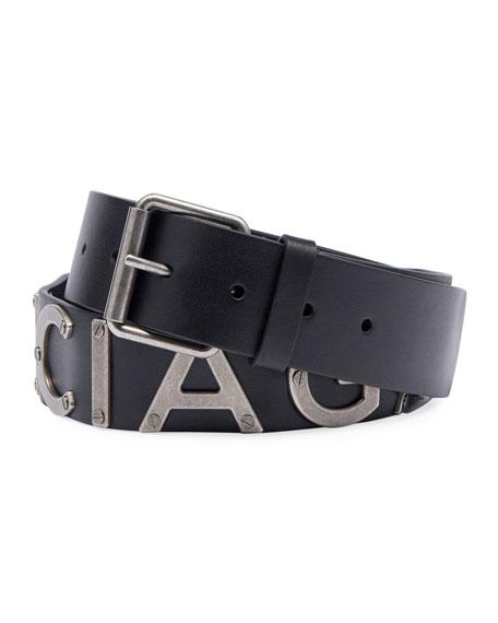 Balenciaga Logo-Lettering Leather Belt