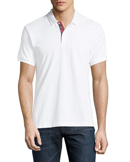 Burberry Short-Sleeve Pique Polo Shirt, White