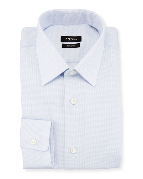 Micro Grid-Print Dynamic Dress Shirt