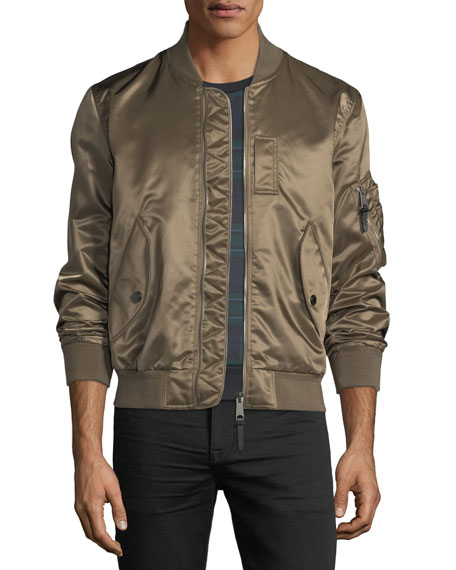 Burberry Brinkley Satin Bomber Jacket