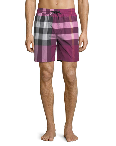 Burberry Check Swim Trunks, Bright Pink