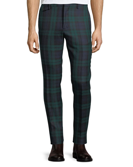 Burberry Check Straight-Leg Wool Pants