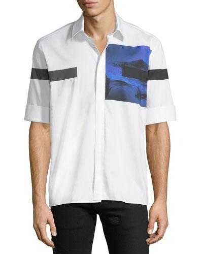 Liquid Ink Square Short-Sleeve Sport Shirt