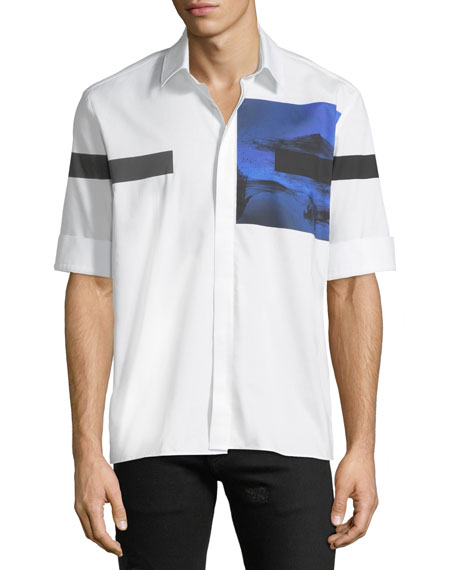 Neil Barrett Liquid Ink Square Short-Sleeve Sport Shirt