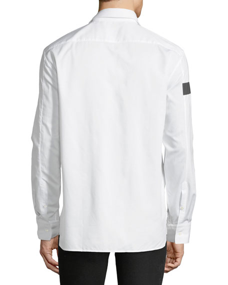 Liquid Ink Square Short-Sleeve Sport Shirt, White/Black