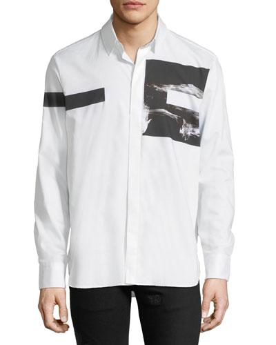 Liquid Ink Square Short-Sleeve Sport Shirt, White/Black