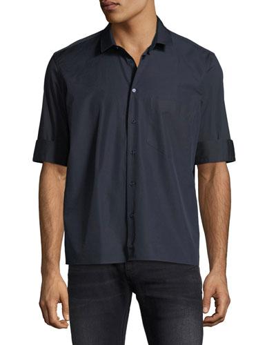 Fold-Cuff Pocket Sport Shirt