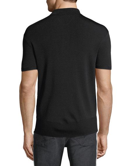 Button-Front Wool-Blend Polo Shirt
