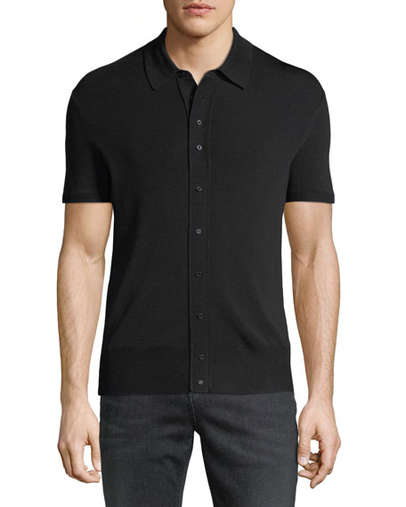 Button-Front Wool-Blend Polo Shirt