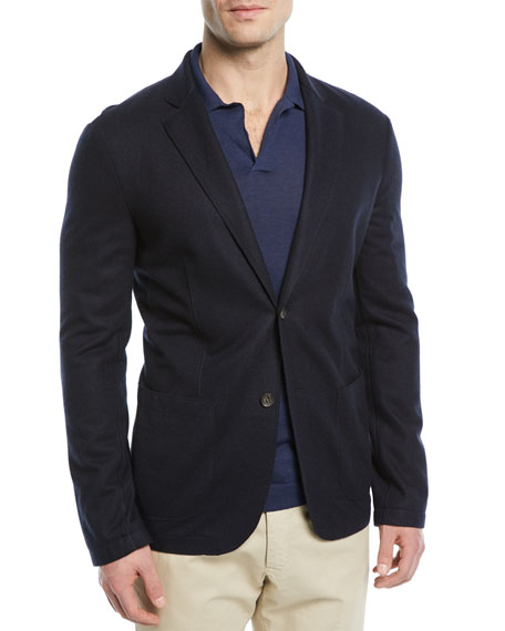 Loro Piana Sweater-Knit Jersey Blazer