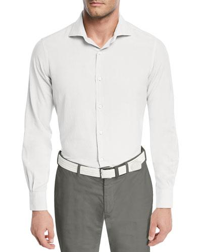 Alain Silk-Dyed Button-Front Shirt