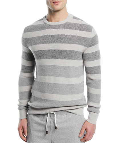 Wool/Silk Striped Crewneck Sweater