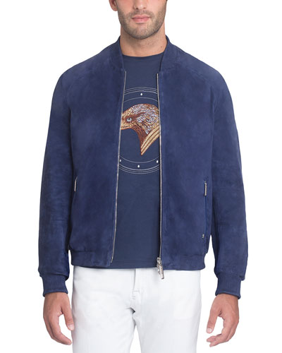 Zip-Front Suede Bomber Jacket