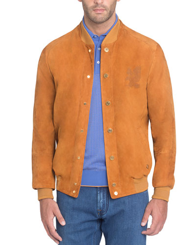 Snap-Front Suede Bomber Jacket