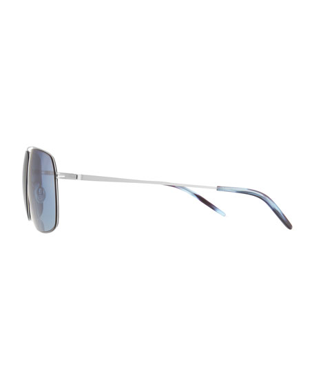 Men's Square Aviator Sunglasses, Silver