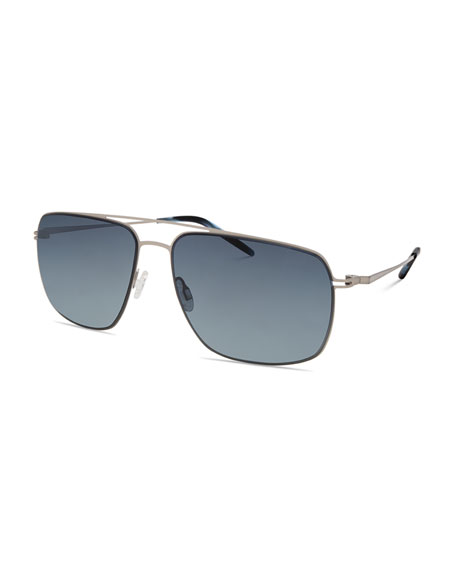 Barton Perreira Men's Square Aviator Sunglasses, Silver