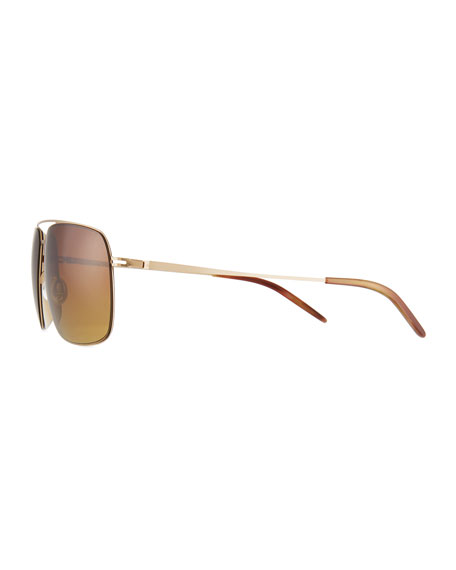 Men's Square Aviator Sunglasses, Gold