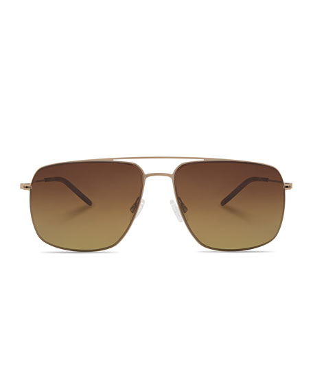 Barton Perreira Men's Square Aviator Sunglasses, Gold