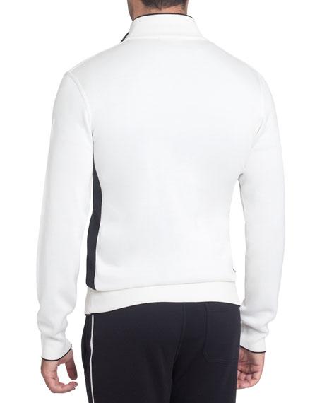 Silk-Blend Zip-Front Jogging Hoodie