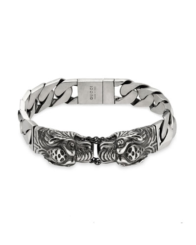 Men's Gourmette Bracelet with Tiger Head Motif