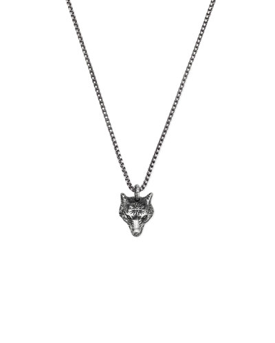 Men's Wolf Head Sterling Silver Necklace