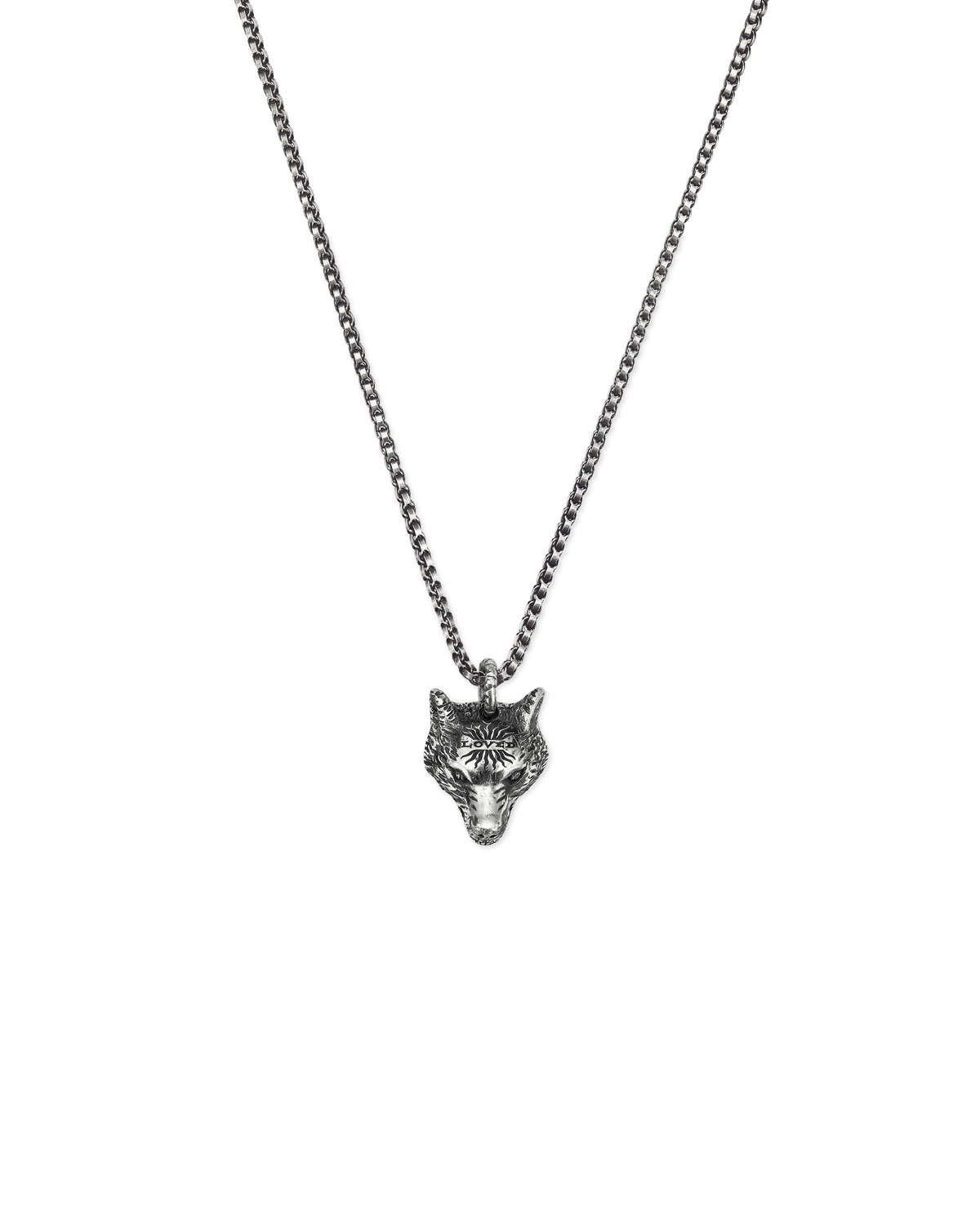 Gucci Men S Wolf Head Sterling Silver Necklace Neiman Marcus