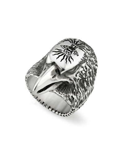 Men's Eagle Head Sterling Silver Ring