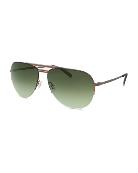 Barton Perreira Men's Arris Half-Rim Aviator Sunglasses