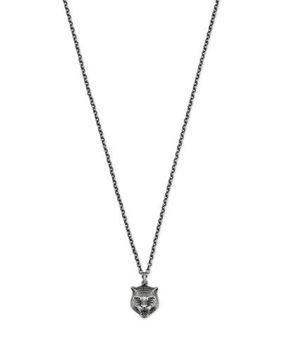 Feline Head Sterling Silver Necklace