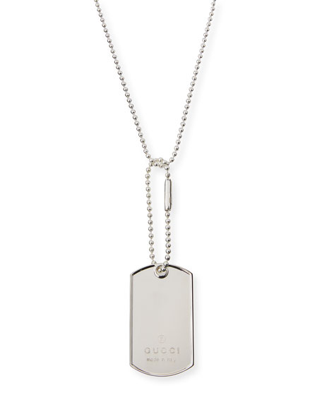 Gucci Sterling Silver Dog Tag Necklace