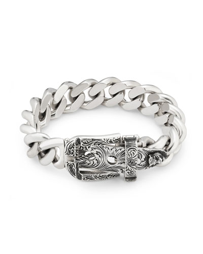 Men's Engraved Buckle-Closure Gourmette Bracelet