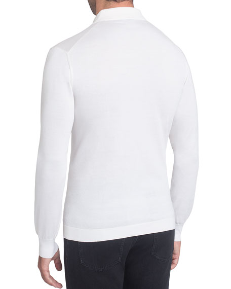 Half-Zip Polo Sweater with Crocodile Trim