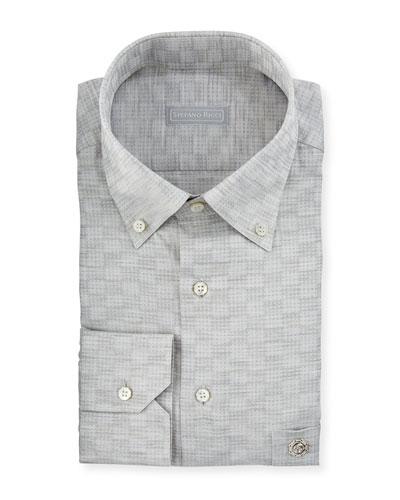 Crosshatch-Pattern Cotton Dress Shirt