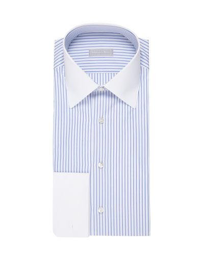 Striped Dress Shirt with Contrast Trim