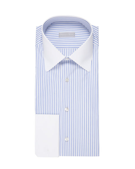 Striped Dress Shirt with Contrast Trim