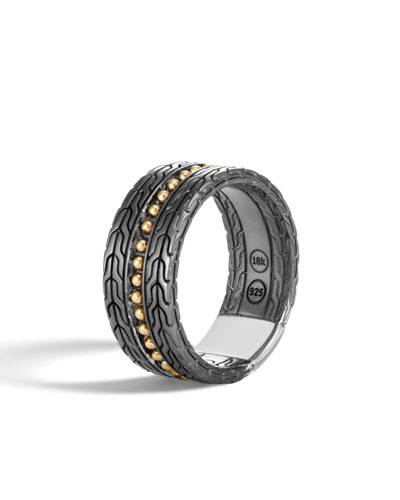 Men's Classic Chain 18k Stud Ring  Size 10
