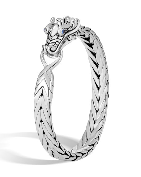 Sterling Silver Legends Naga Bracelet With Blue Sapphire Eyes
