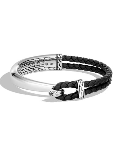 Men's Classic Chain Sterling Silver & Leather Bracelet